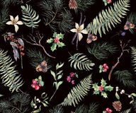 Fond sans couture floral de vintage avec Fern Leaves Photos libres de droits