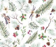 Fond sans couture floral de vintage avec Fern Leaves Images libres de droits