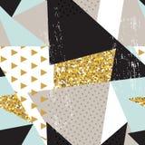 Fond sans couture géométrique abstrait de modèle avec des éléments de scintillement Calibre de textile ou de papier peint Illustr Photos libres de droits