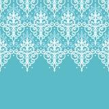 Fond sans couture horizontal de modèle de damassé bleu-clair de remous Photographie stock libre de droits