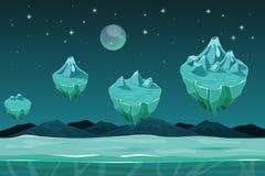 Fond sans couture horizontal de planète congelée de jeu, modèle avec des îles de glace Image libre de droits