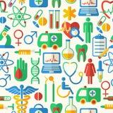 Fond sans couture médical de vecteur avec les icônes plates Photographie stock libre de droits