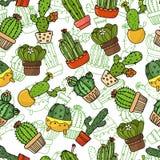 Fond sans couture, papier peint, texture, cactus de bande dessinée de contexte Collection d'illustrations de griffonnage de vecte Photo libre de droits