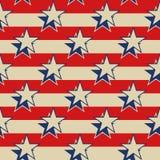 Fond sans couture patriotique des Etats-Unis de rayures d'étoiles Images libres de droits