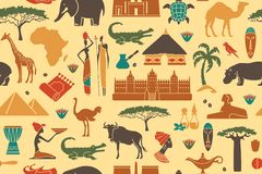 Fond sans couture sur un thème de l'Afrique Images libres de droits