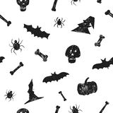Fond sans couture tiré par la main de modèle de partie de Halloween Illustration d'encre de brosse d'amusement pour le papier, te Images libres de droits