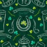 Fond sans couture vert pour le jour de Patricks avec le symbole et la feinte illustration de vecteur