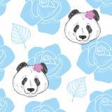Fond sans fin avec des têtes de panda et de fleurs Photographie stock libre de droits