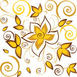 Fond sans joint avec des fleurs d'or illustration stock