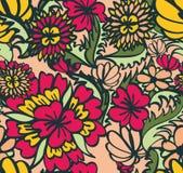 Fond sans joint avec les fleurs rouges et jaunes Photographie stock