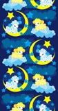 Fond sans joint avec un mouton dans le ciel de nuit Image stock
