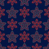 Fond sans joint bleu Modèle beige et rouge floral Photos stock