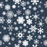 Fond sans joint de l'hiver avec des flocons de neige Conception de vacances Photos stock