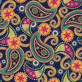 Fond sans joint de Paisley Fleurs et feuilles colorées sur le bleu illustration libre de droits