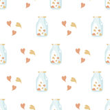 Fond sans joint de valentine Modèle d'amour de tuile Texture douce sans fin illustrée par vecteur de papier d'emballage Photo stock