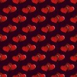 Fond sans joint de vecteur Coeurs avec l'ornement Image libre de droits