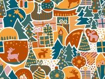 Fond sans joint de vecteur de Noël Modèle moderne de vacances dans la sarcelle d'hiver, vert, or, rose Renne, élan, ornements de  illustration libre de droits