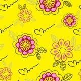 Fond sans joint floral jaune Photographie stock