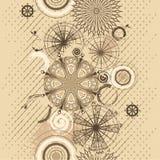 Fond sans joint grunge de cercles beiges Images libres de droits
