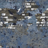 Fond sans joint peint sale bleu de mur de briques Photos stock