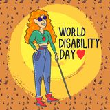Fond sans visibilité de concept de femme de jour d'incapacité du monde, style tiré par la main illustration stock