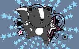 Fond sautant de bande dessinée de mouffette mignonne de bébé Photo stock