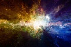Fond scientifique astronomique étonnant avec la nébuleuse et les étoiles Photographie stock