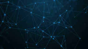 Fond scientifique et technologie abstraite Papier peint dynamique numérique de plexus Lignes, triangles et points attachés boucle