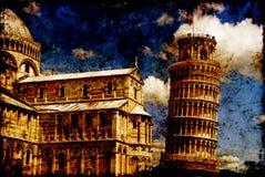 fond se penchant la tour texturisée de Pise Image stock
