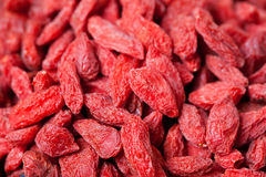 Fond sec rouge de baies de goji Photographie stock libre de droits