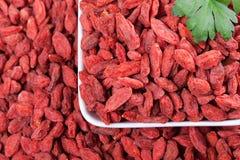 Fond sec rouge de baies de goji Image libre de droits