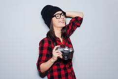 She is fond of shooting. Royalty Free Stock Images