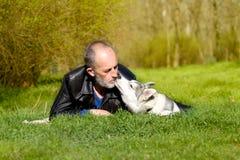 Fond Siberian Husky Royalty Free Stock Photos