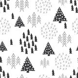 Fond simple d'arbre de Noël d'illustration de style scandinave sans couture Image libre de droits