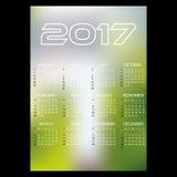 fond simple eps10 de couleur de tache floue d'abrégé sur calendrier mural des affaires 2017 Photos stock