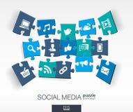 Fond social abstrait de media avec des puzzles reliés de couleur, icônes plates intégrées concept 3d infographic avec le réseau Image libre de droits