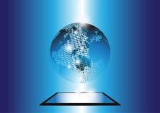 Fond social de bleu de technologie des communications de réseau Photographie stock