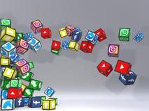 Fond social de gris de réseau illustration de vecteur
