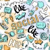 Fond social de modèle de media de griffonnage sans couture Image libre de droits