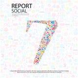 Fond social de network number avec des icônes de media Photographie stock libre de droits