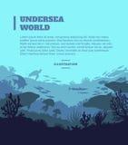 Fond sous-marin d'illustration du monde, éléments colorés de silhouettes, plats Photo libre de droits