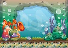 Fond sous-marin de vecteur de bande dessinée avec des couches séparées pour l'art et l'animation de jeu Photo libre de droits