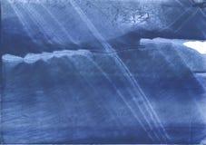 Fond strié par bleu foncé de dessin de lavage d'ardoise Photographie stock libre de droits