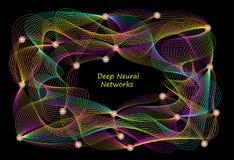 Fond stylisé d'activité profonde de réseaux neurologiques dans le cerveau Système d'intelligence artificielle Technologie numériq