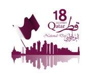 Fond sur la célébration de jour national du Qatar d'occasion illustration stock