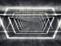Fond surréaliste concret foncé abstrait d'intérieur de tunnel Images stock