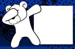 Fond tamponnant de cadre de tableau de bande dessinée d'enfant d'ours blanc de pose de limande Images libres de droits