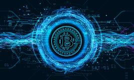 Fond technologique avec le crypto bitcoin de devise Photographie stock