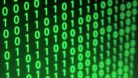 Fond technologique de problème de données binaires de Digital avec le code binaire Éléments binaires 1 et 0 sur le fond vert illustration stock