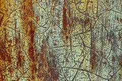 Fond, texture de la surface rouill?e avec la vieille peinture verte minable image stock